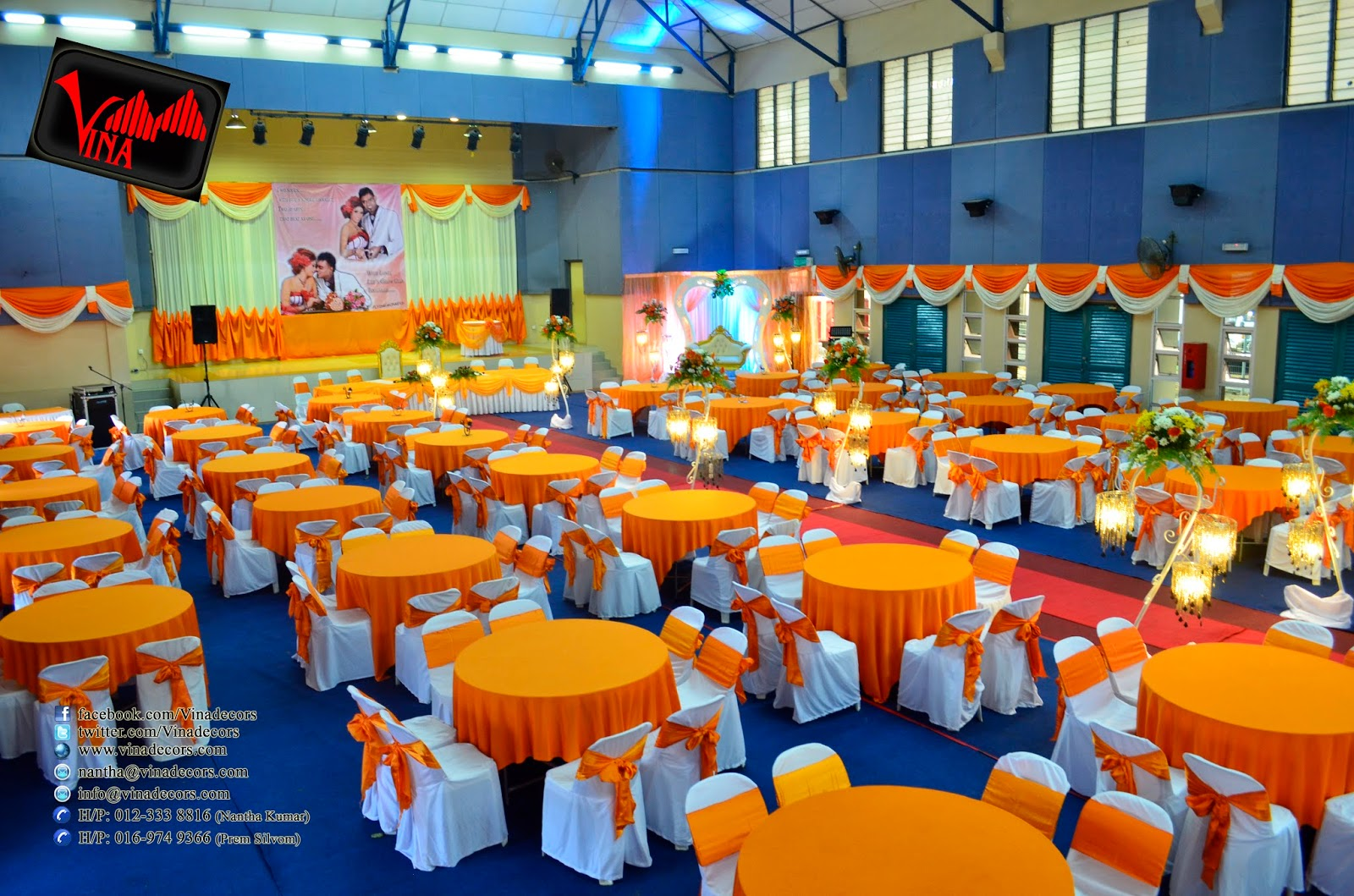 Wedding Dinner Decoration at Dewan Serbaguna Taman Maluri, Jln Wira 1, Kg Pandan, 55100 Kuala Lumpur on 22/03/2014 (Entrance Kolam Setting, Entrance Arch, Crystal Pillars, Main table Setting, Backdrop Setting on the stage and Photography Backdrop)  by Vina Canopy & Decor