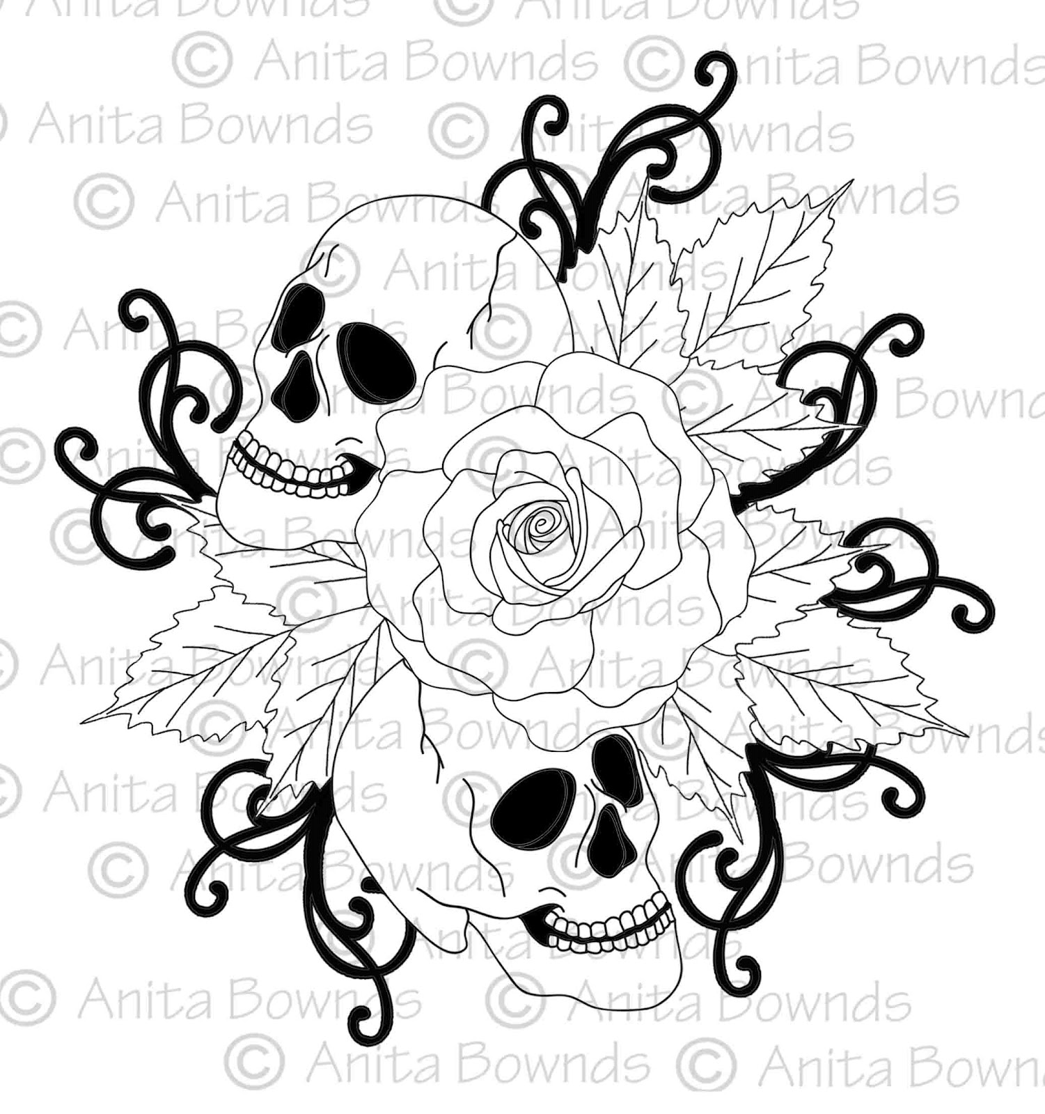 skulls roses coloring pages
