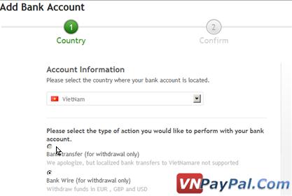 Payza vẫn chưa hỗ trợ Bank transfer cho Việt Nam