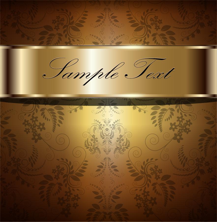 金色のテキスト プレート elegant gold background イラスト素材