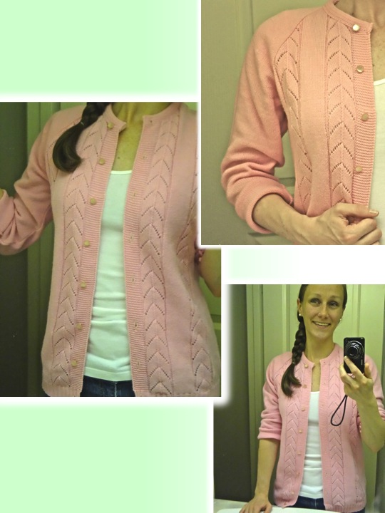 pink herringbone cardigan, from salvation army vancouver