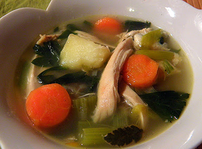 Closeup of Bowl of Chicken Soup