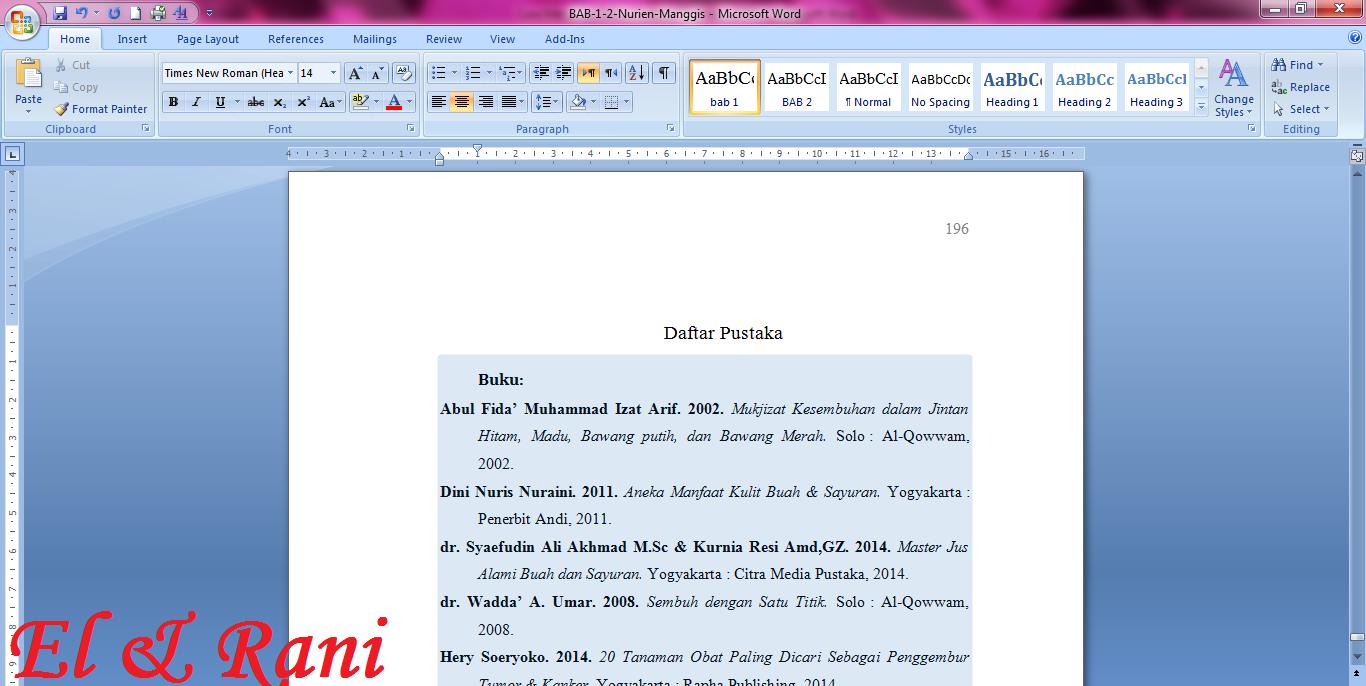 Cara Membuat Daftar Pustaka Otomatis Di Ms Word Catatan El Rani