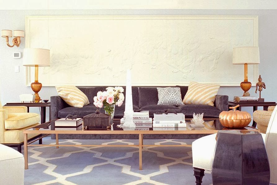 Kelly Wearstler living room greek freize gray sofa