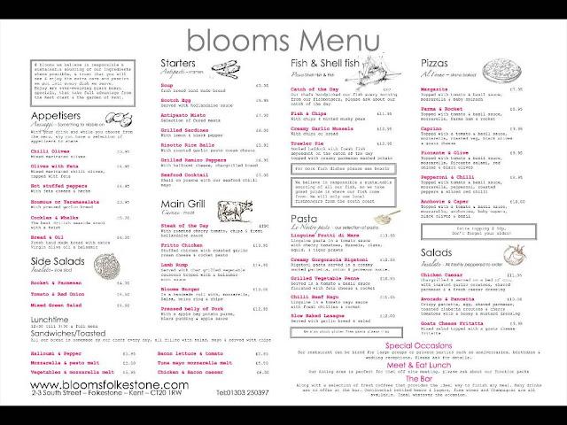 Blooms Folkestone restaurant menu