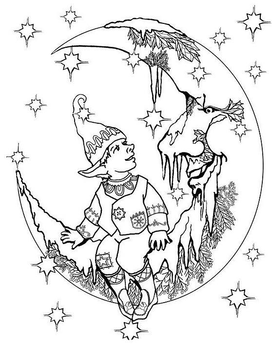 desenhos duende sentado na lua colorir e pintar qdb