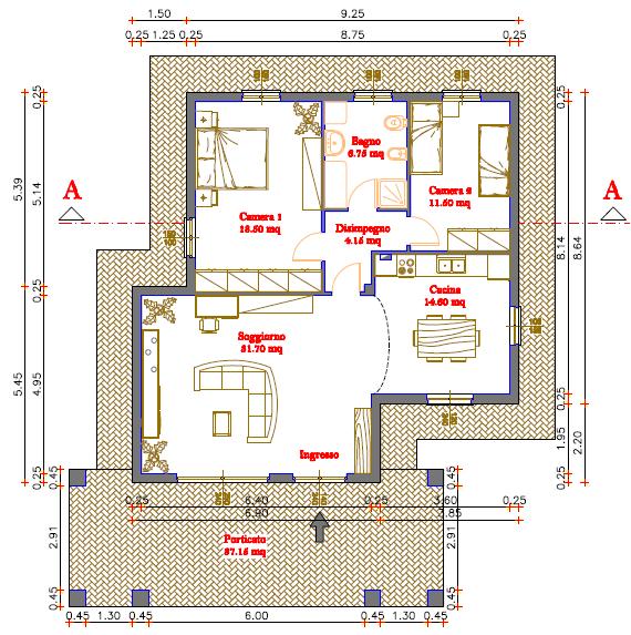 Progetti di case in legno casa 100 mq portico 37 mq - Planimetria casa 120 mq ...