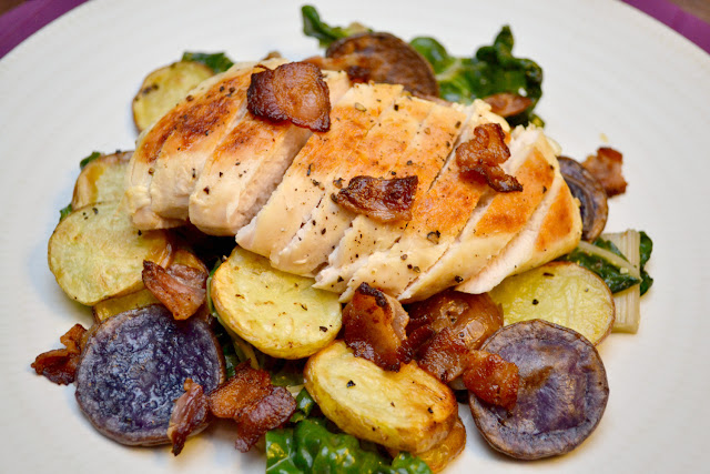 chicken with potatoes, bacon, and swiss chard recipe