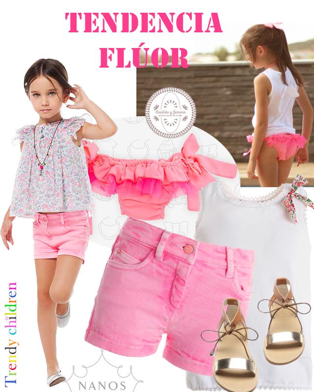 tendencia moda infantil verano 2014 short culetín flúor nanos niña casilda y jimena