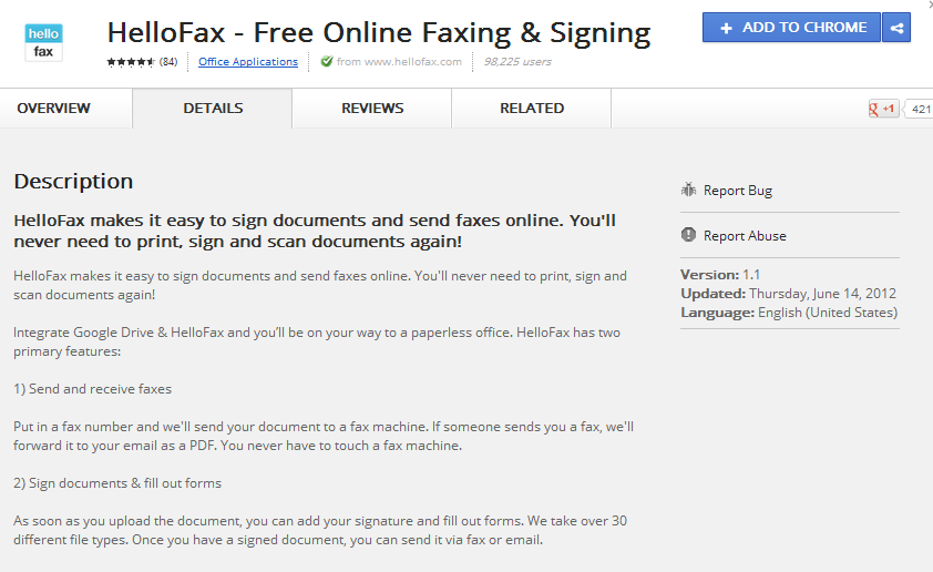 fax free chrome apps