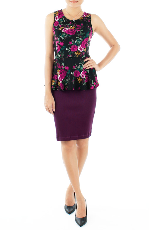 Violet Rose Full Bloom Peplum Top