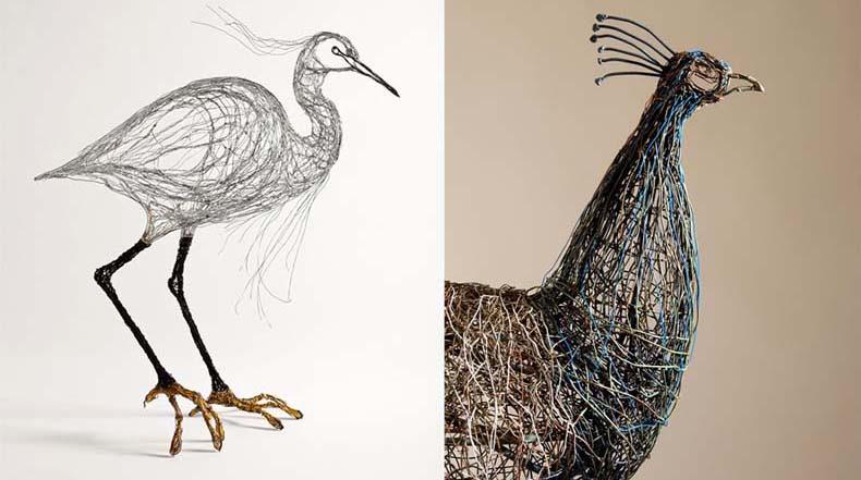 Esculturas de aves construido a partir de alambre lucen como detallados bocetos