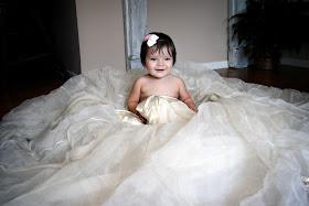 baby girl photo shoot in mom's wedding dress