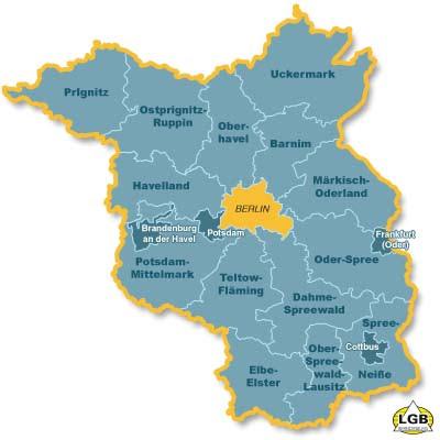 Brandenburgo Mapa de Ciudades