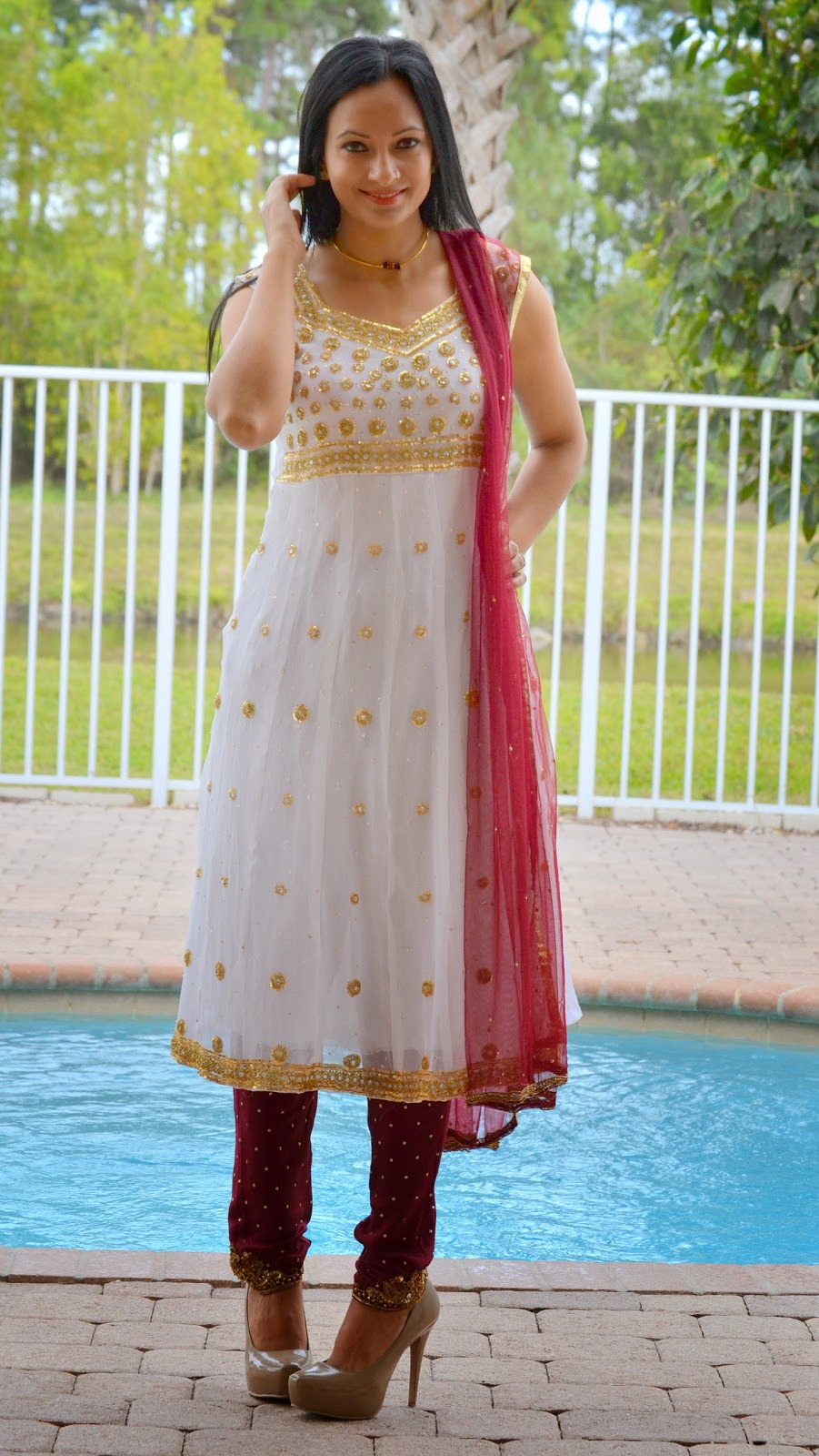 White Anarkali bollywood fashion sarees lehnga www.sandysandhu.co