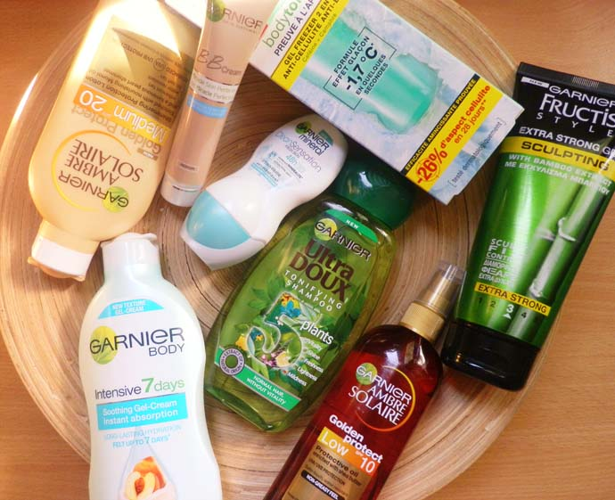 Garnier products perfect for the Summer time: Ambre Solaire Golden protection SPF 20, Garnier BB cream, Garnier Body Tonic, Fructis Hair Sculpting hair gel, Garnier Ambre Solaire Golden protect low spf 10 body oil, Garnier Intensive 7 day body lotion, Garnier mineral roll on, Garnier ultra doux 5 plants notifying shampoo