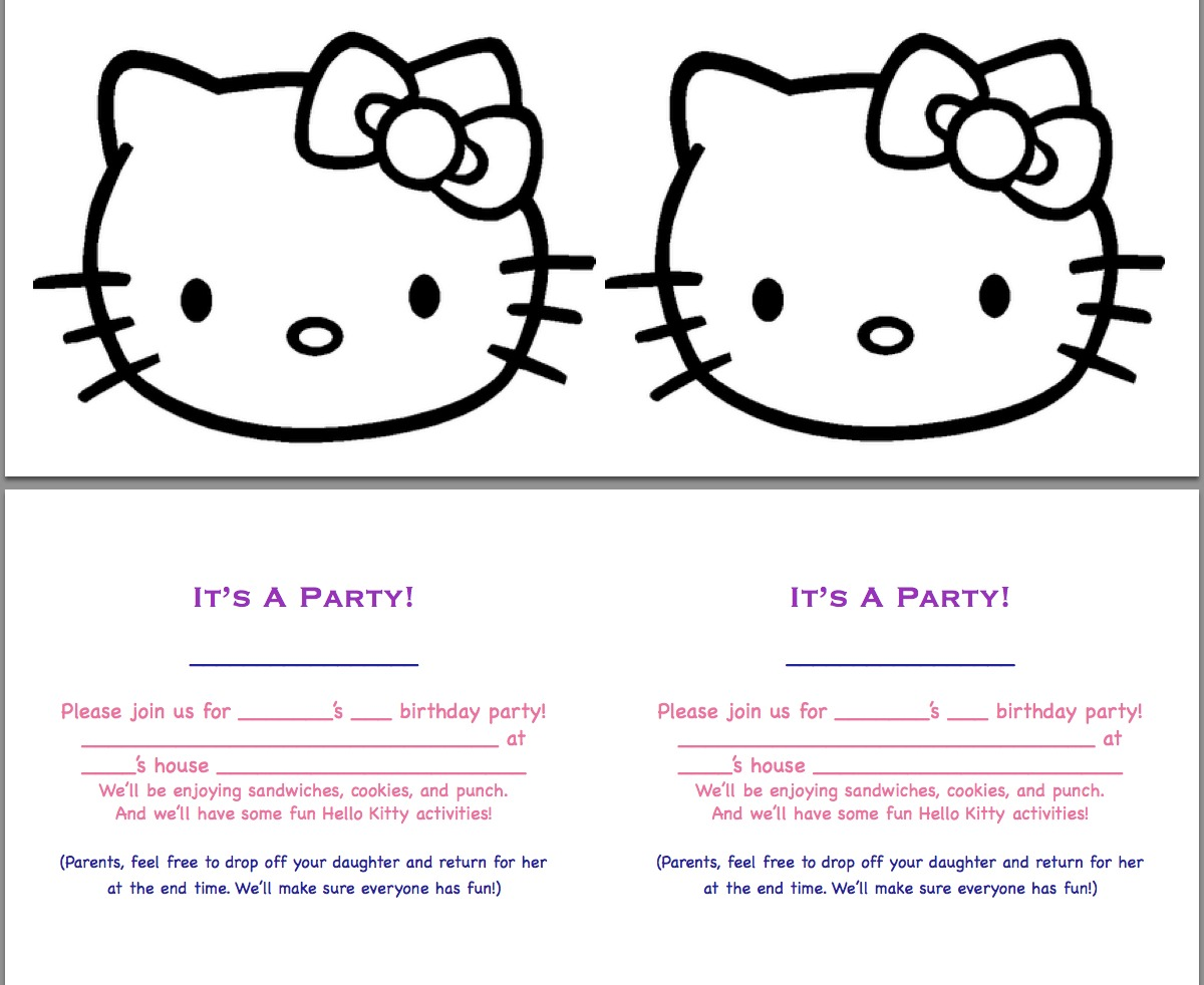 Defrump me hello kitty party continued free printables heres the invitation that i created using just a hk face line drawing from an online coloring page creative yeah there are actually 4 front and back solutioingenieria Images