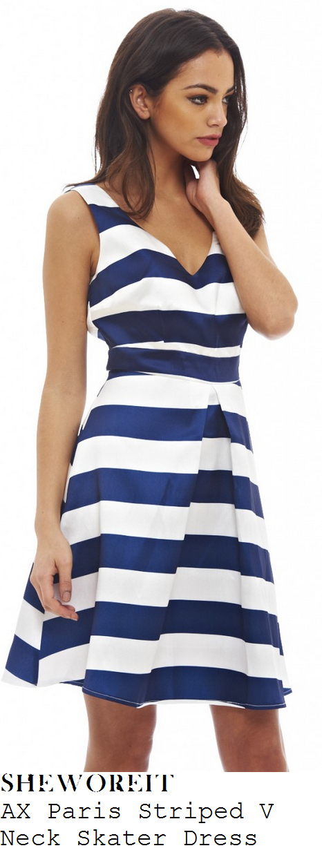 casey-batchelor-navy-blue-white-stripe-print-sleeveless-v-neck-skater-dress