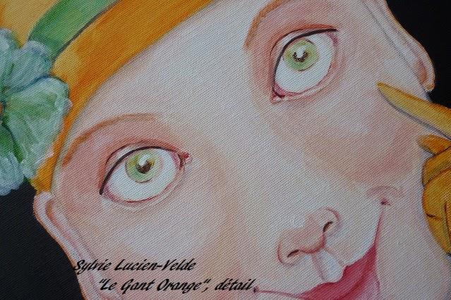 Le Gant Orange - détail d'une peinture acrylique de Sylvie Lucien-Velde