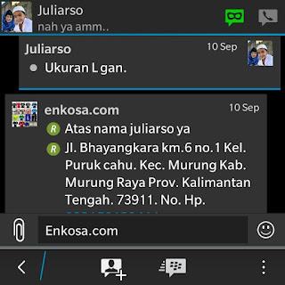 Konfirmasi alamat lengkap dan detail pesanan jersey Juliarso oleh enkosa sport toko online terpercaya lokasi di jakarta pasar tanah abang3