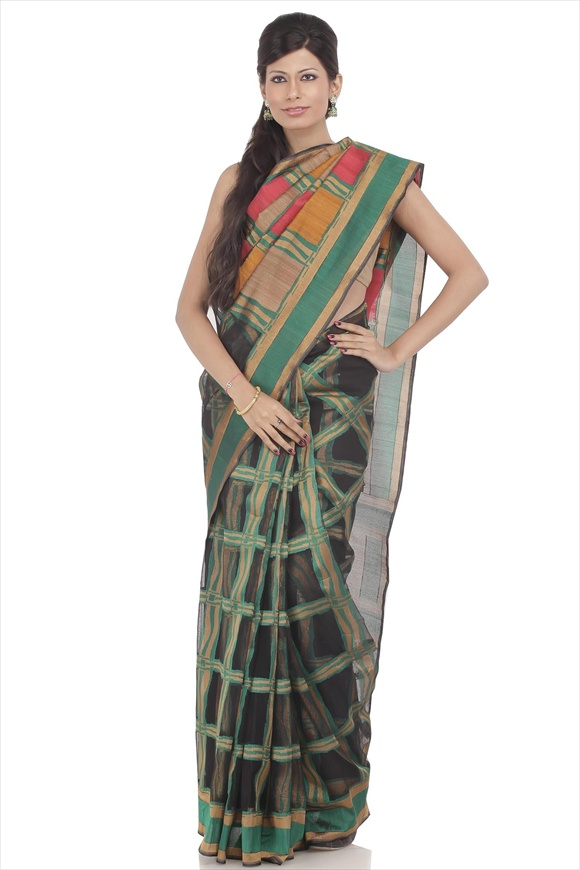 Black Cotton Net Saree