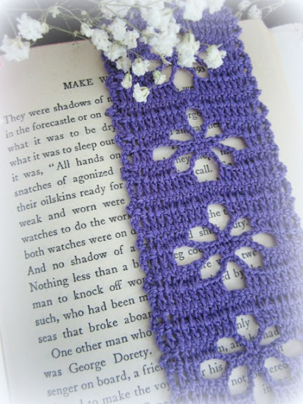 purple crochet bookmark