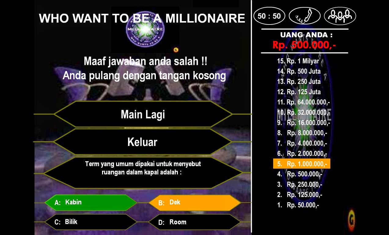 Wants To Be Millionaire 1 2 3 Bahasa Indonesia