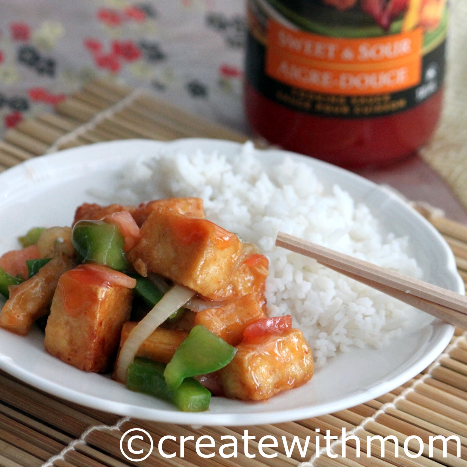 Tofu stir fried with VH sweet and sour sauce.