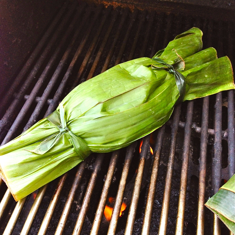 fish on banana leaf grilled whole fish on banana barbecuing whole fish ...