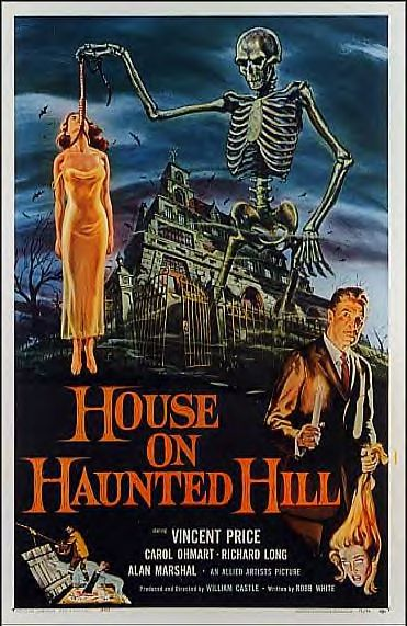 Love those classic movies house on haunted hill 1959 bring your seat belt for Classic haunted house movies