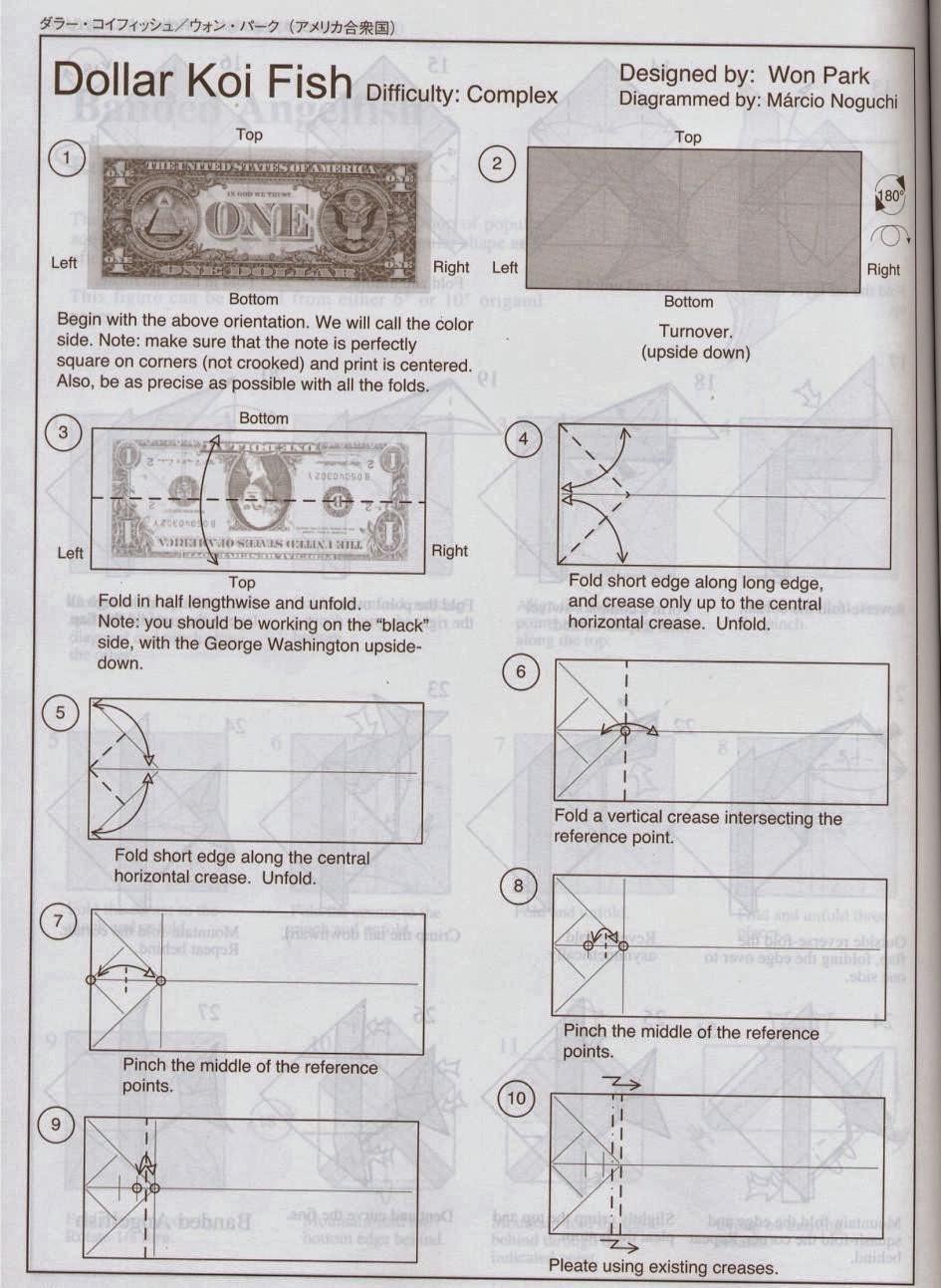 Dollar Koi Fish El Arte Del Origami Diagram Buena Suerte