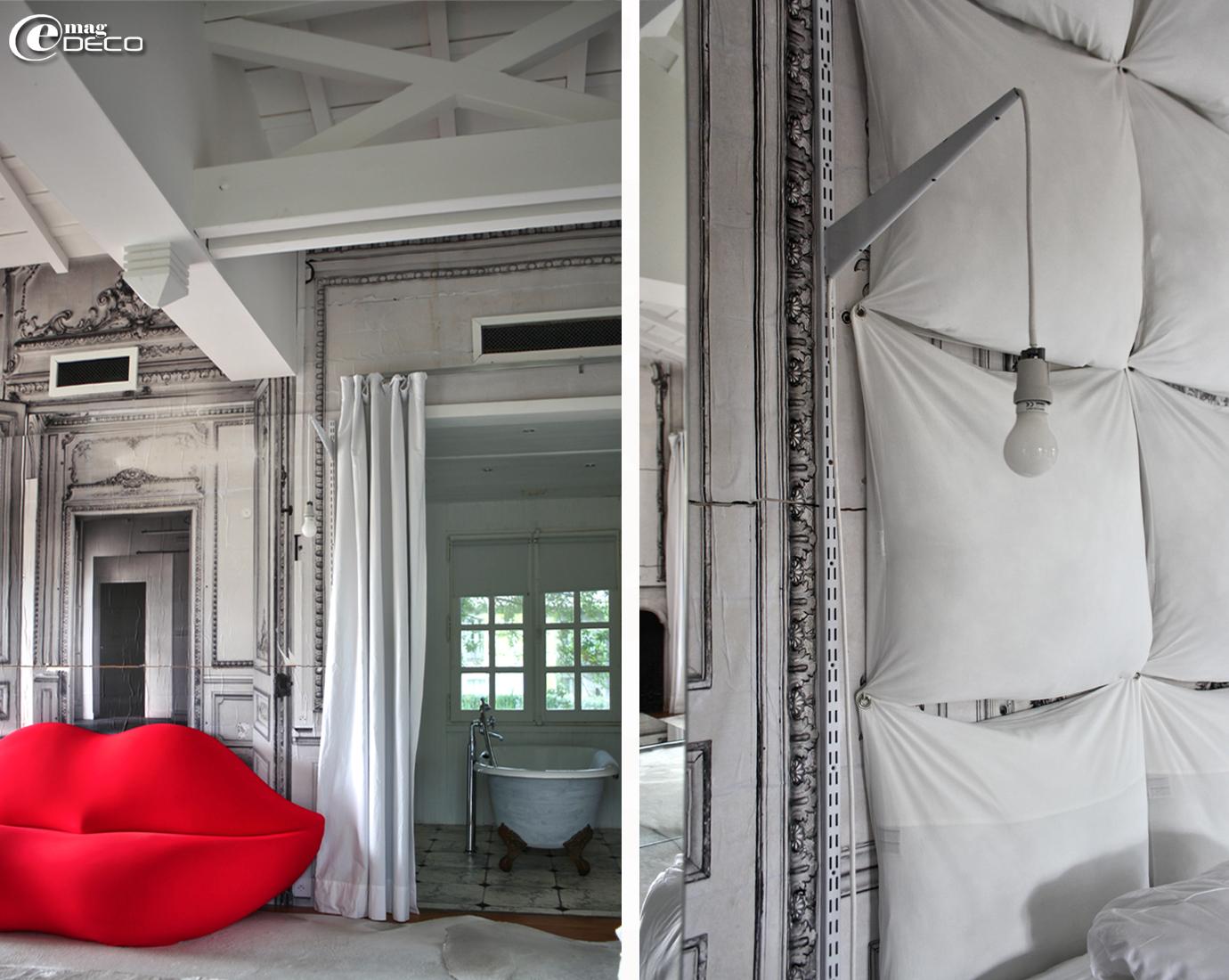 Idées déco originales : une tête de lit réalisée avec une multitude d'oreillers accrochés au mur, Les Sources de Caudalie