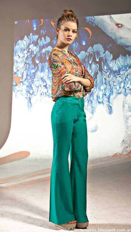 Moda primavera verano 2015 Mancini pantalones palazzos y blusas.