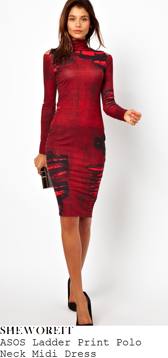 jesy-nelson-red-and-black-ladder-print-long-sleeve-polo-neck-midi-dress