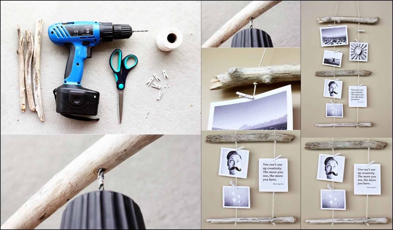 DIY Driftwood Photo Display DIY Craft Projects