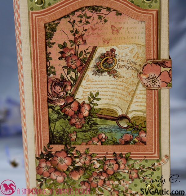 Close up of book cover in soft spring colors with beautiful flowers