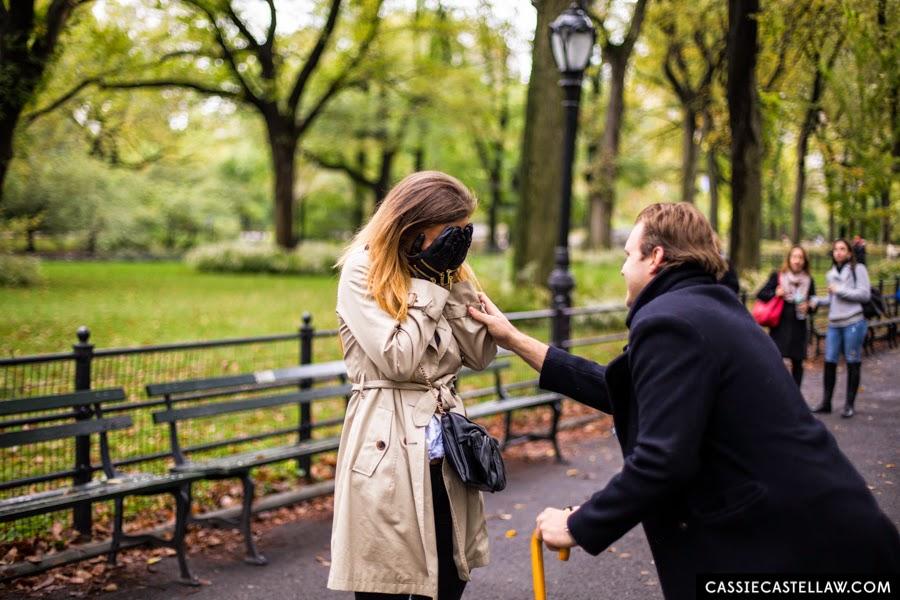 Central Park October Surprise Proposal + Engagement Portraits - www.cassiecastellaw.com