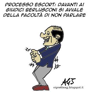 Berlusconi, processo escort, facoltà di non parlare, satira, vignetta