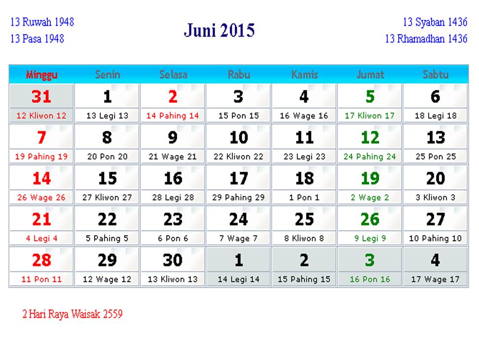 Kalender Indonesia Juni 2015