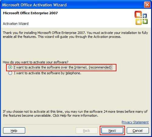 activate office 2007 enterprise