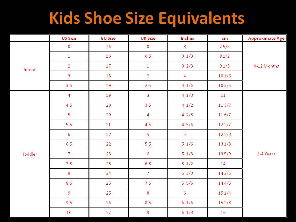 Childrens Shoe Size Chart .
