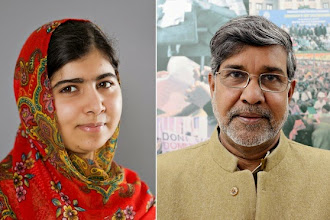 Pakistani and Indian win joint-peace prize.