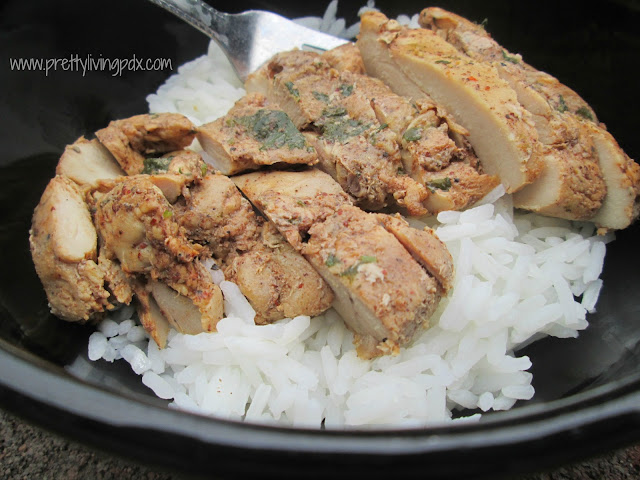 Asian grilled chicken close up