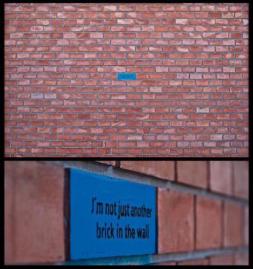 exemplos de arte urbana - Street Art - Im Not Just Another Brick In The Wall