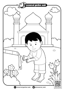 mewarnai gambar berwudhu di masjid