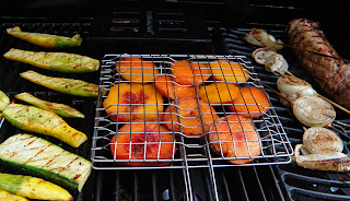 Squash, Peaches, Onions, and Pork on Grill
