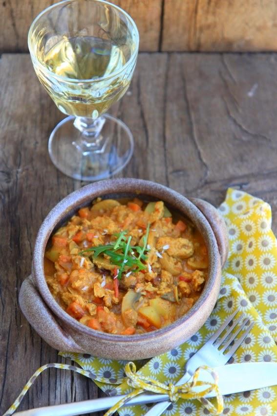petits repas entre amis: curry de protéines de soja texturées