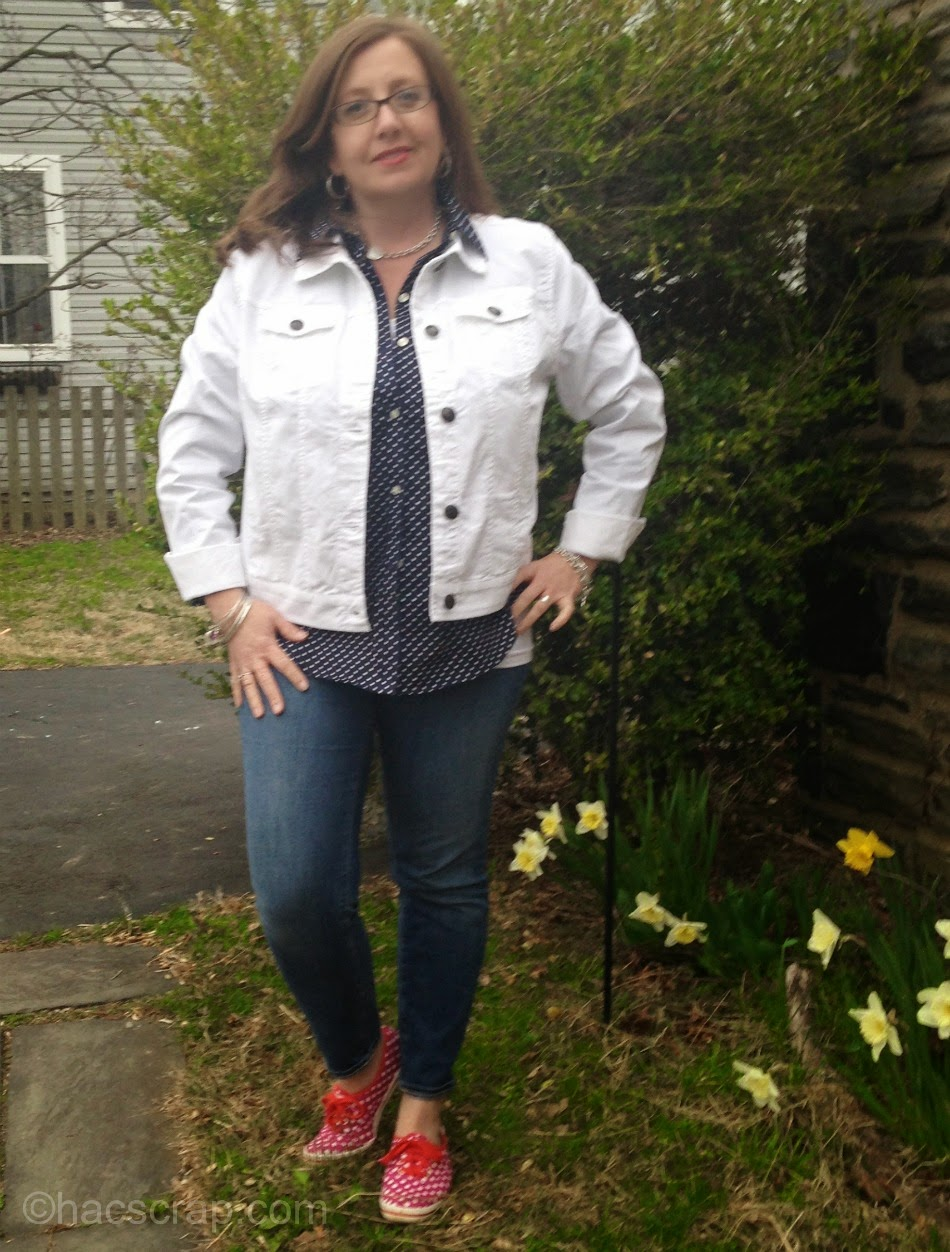 Adding a Light White Cotton Spring Jacket to Style a Layered Look