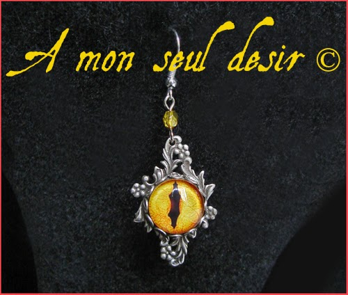 Boucles d'Oreilles Yeux de Dragon Jaune Oeil de Sauron Tolkien Yellow Gold Smaug Eyes Earrings Mordor