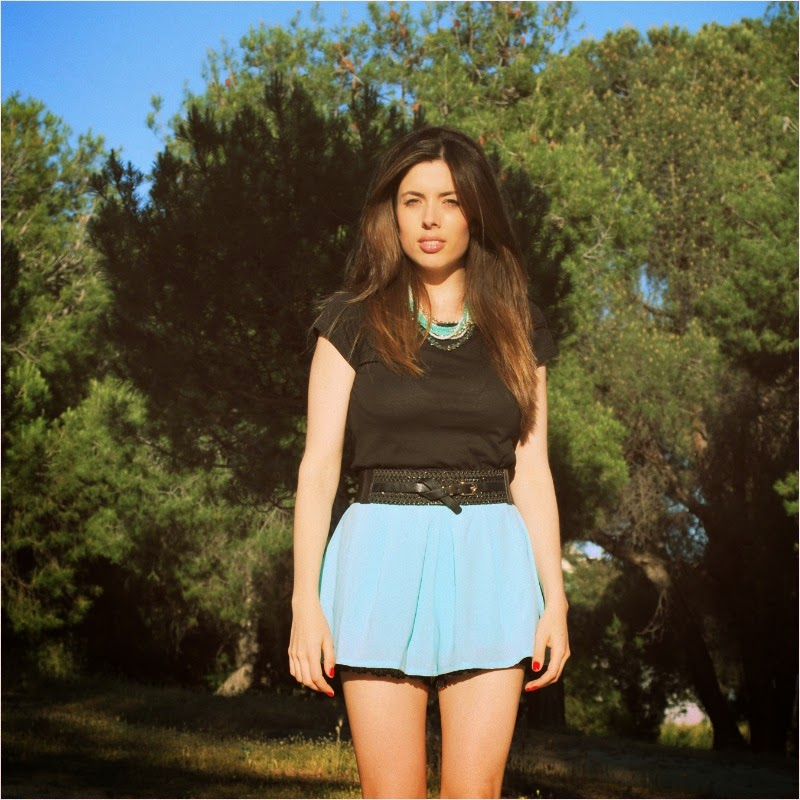 Falda pantalón aguamarina